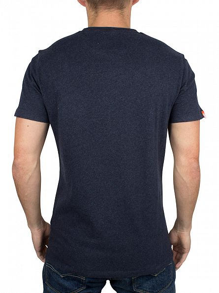 Superdry Deep Indigo Jaspe Orange Label Vintage Logo T-Shirt