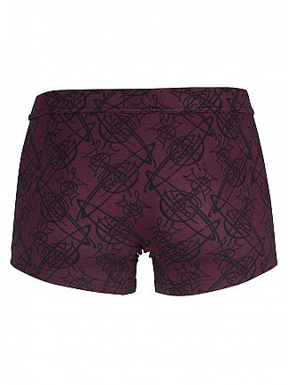 Vivienne Westwood Burgundy/Black All Over Logo Trunks