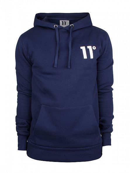 11 Degrees Navy Core Logo Pull Over Hoodie