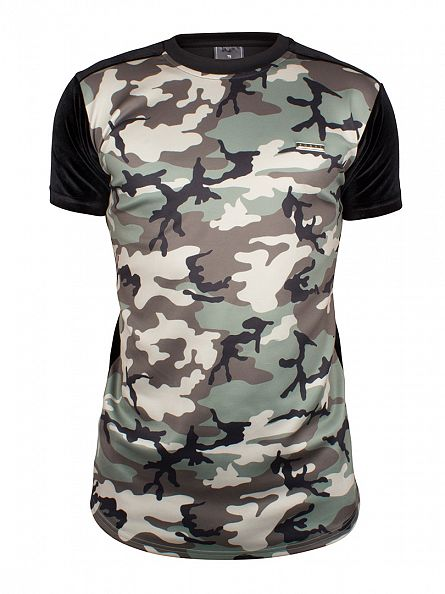 Foray Green Velour Camo Raglan T-Shirt
