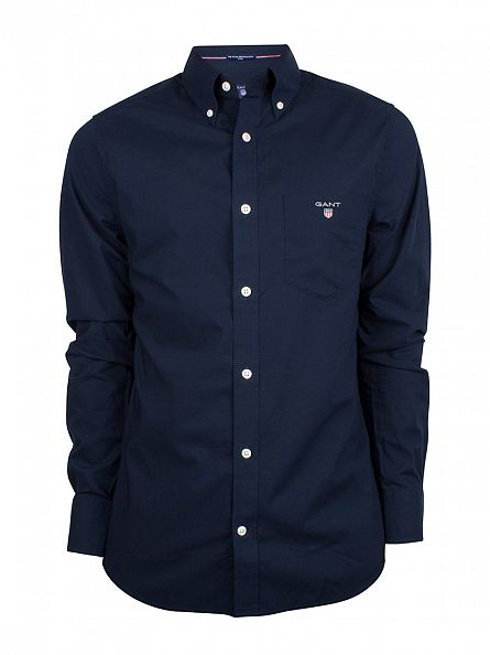 Gant Storm Blue Broadcloth Fitted Pocket Shirt