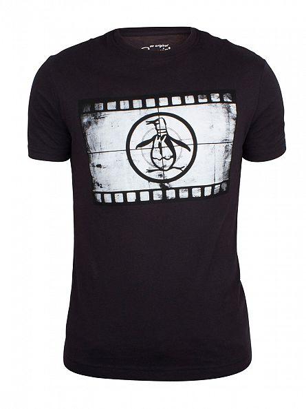 Original Penguin True Black Reel Clothing Scope Graphic T-Shirt