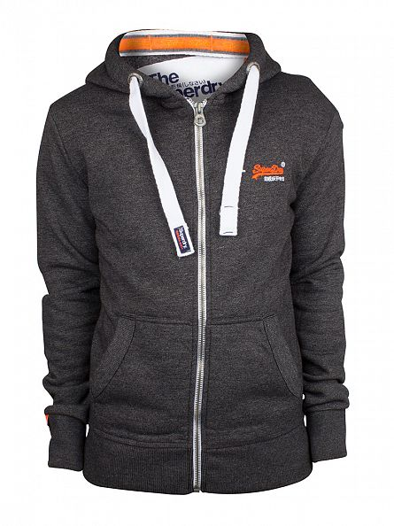 Superdry Low Light Black Grit Orange Label Logo Zip Hoodie
