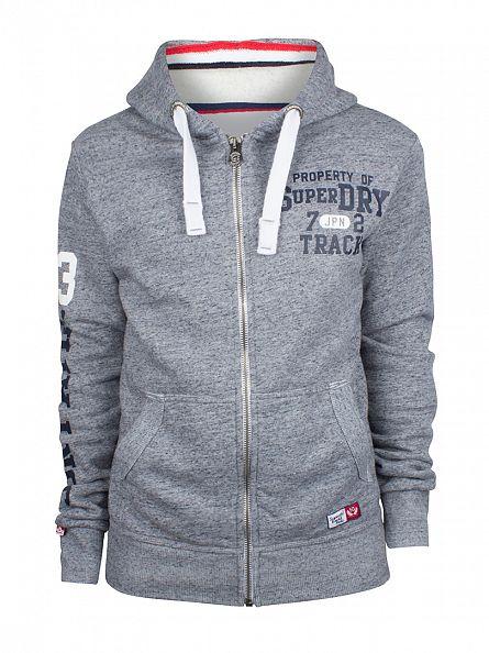 Superdry Pearl Blue Grindle Trackster Logo Zip Hoodie