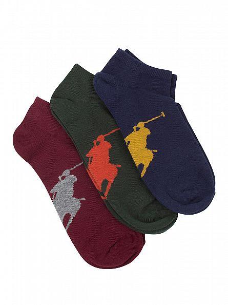 Polo Ralph Lauren Burgundy/Green/Navy 3 Pack Logo Ankle Socks