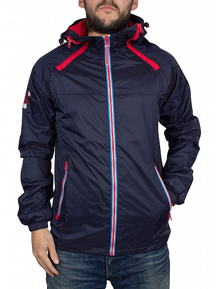 Superdry Nautical Navy/Rebel Red Dual Zip Through Tri Colour Jacket