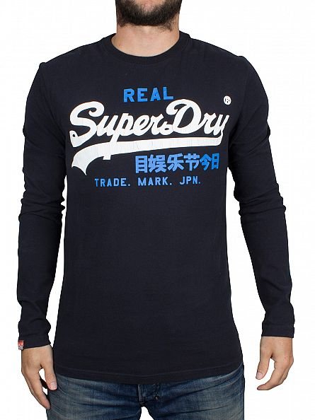 Superdry Eclipse Navy Longsleeved Vintage Logo Duo Graphic T-Shirt