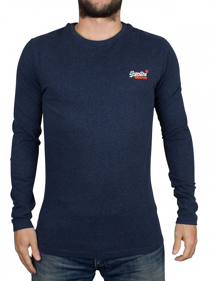 Superdry Deep Indigo Slub Orange Label Longsleeve Vintage Embroidery T-Shirt
