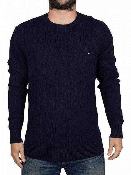 Tommy Hilfiger Navy Blazer Cable Logo Knit