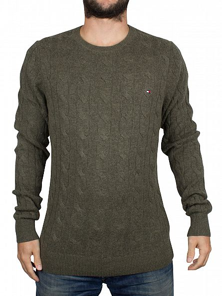 Tommy Hilfiger Grape Leaf Heather Cable Logo Knit