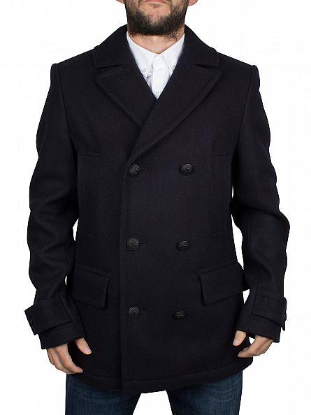 Tommy Hilfiger Navy Classic Logo Pea Coat