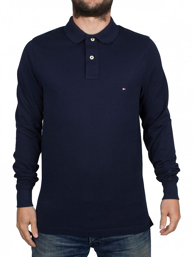 Tommy Hilfiger Navy Blazer Longsleeved Slim Fit Logo Polo Shirt