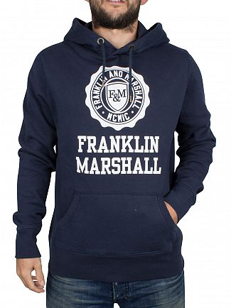 FRANKLIN & MARSHALL NAVY STAMP & LOGO TEXT HOODIE