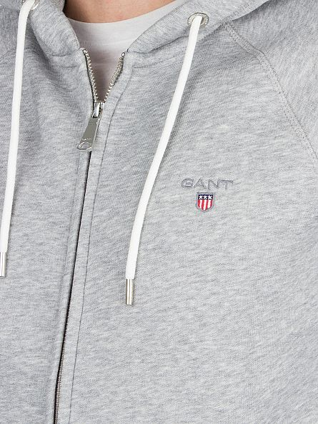 Gant Grey Melange The Original Full Zip Logo Hoodie