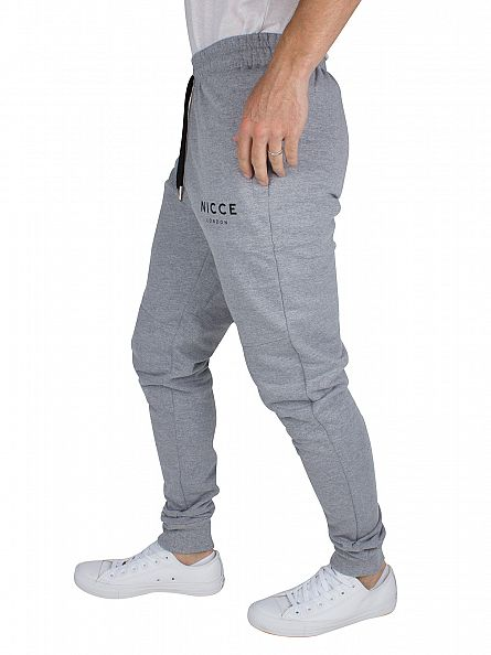 Nicce London Grey Skinny Fit Original Logo Panelled Joggers