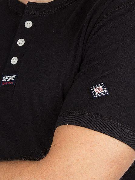 Superdry Black Heritage Grandad Logo T-Shirt