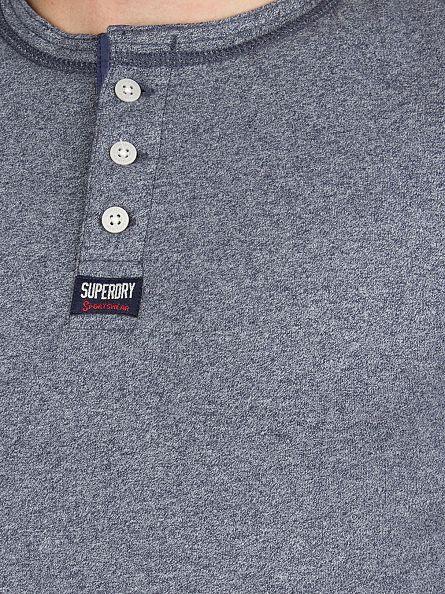 Superdry Monsoon Navy Grindle Longsleeved Heritage Grandad T-Shirt