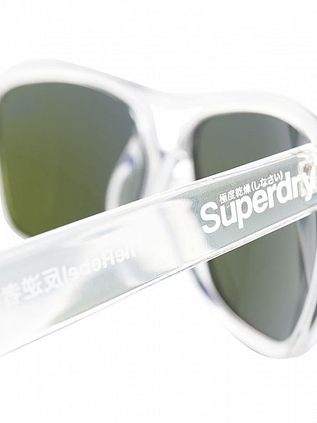 Superdry Clear Crystal/Blue Revo Rebel Sunglasses
