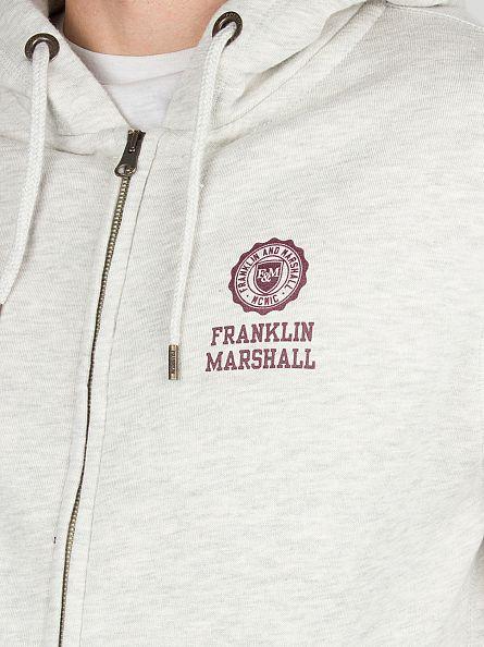 Franklin & Marshall Original Grey Chest Logo Zip Hoodie