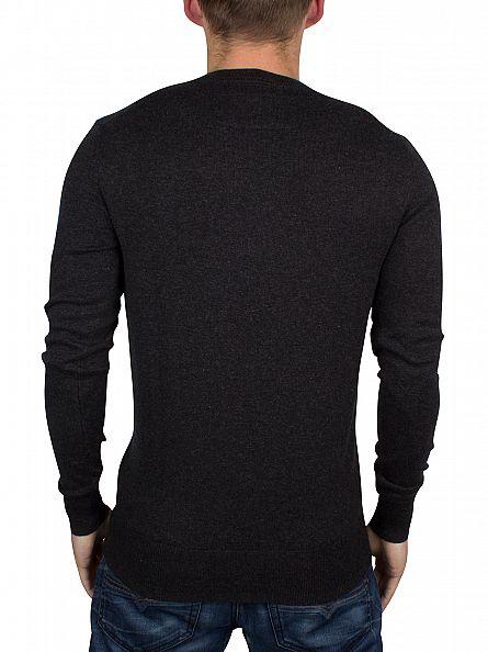 Superdry Charcoal/Black Twist Orange Label Logo Knit