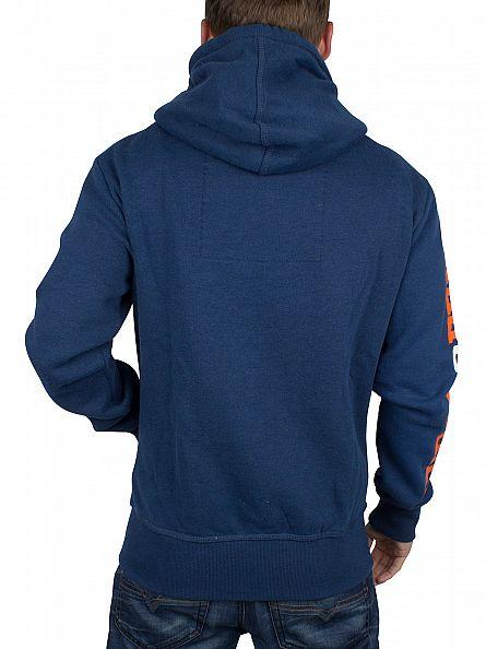 Superdry Iowa Blue Marl Trackster Zip Logo Hoodie