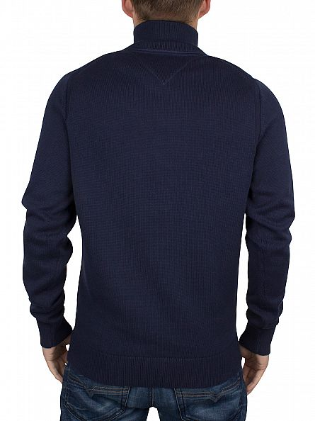 Tommy Hilfiger Navy Blazer Atlantic Logo Zip Up Knit