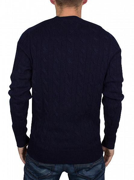 Tommy Hilfiger Navy Blazer Cable Logo Knit