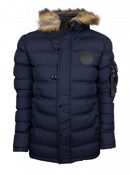 4Bidden Navy Salute Fur Trim Hooded Jacket