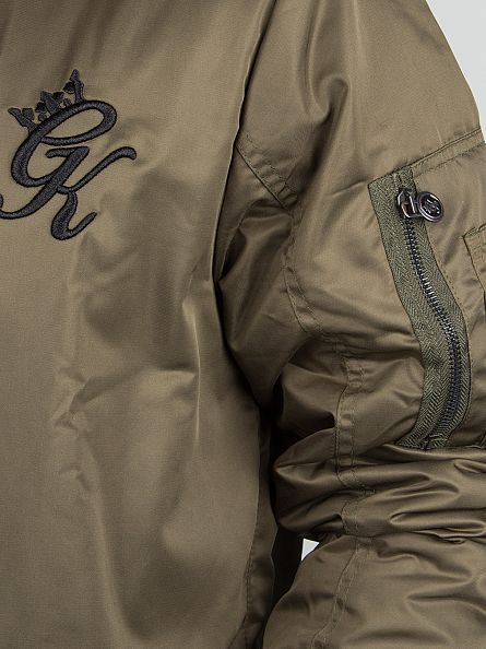 Gym King Khaki Stealth Logo Bomber Jacket
