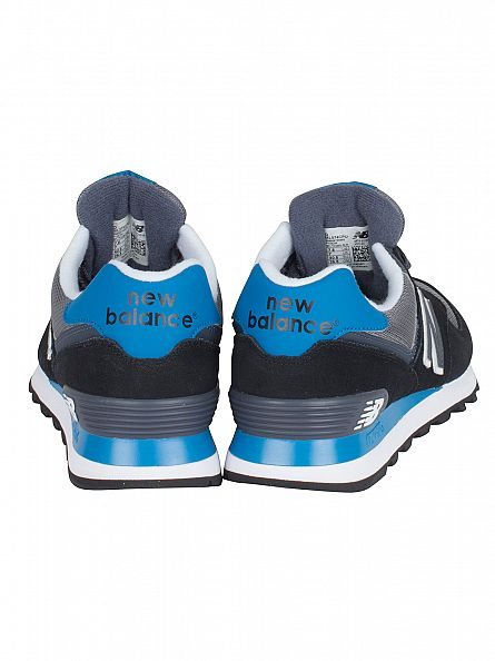 New Balance Black/Light Blue 574 Trainers