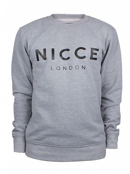 Nicce London Grey Marl Original Logo Sweatshirt
