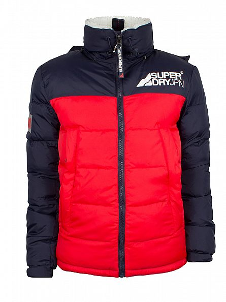 Superdry Red/White/Blue Mountain Mark Sherpa Jacket