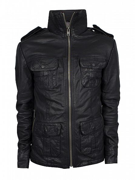 Superdry Black New Brad Hero Leather Jacket