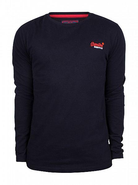 Superdry Truest Navy Orange Label Longsleeve Vintage Embroidery T-Shirt