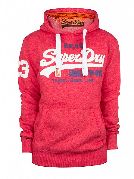 Superdry Indiana Red True Grit Vintage Logo Duo Graphic Hoodie