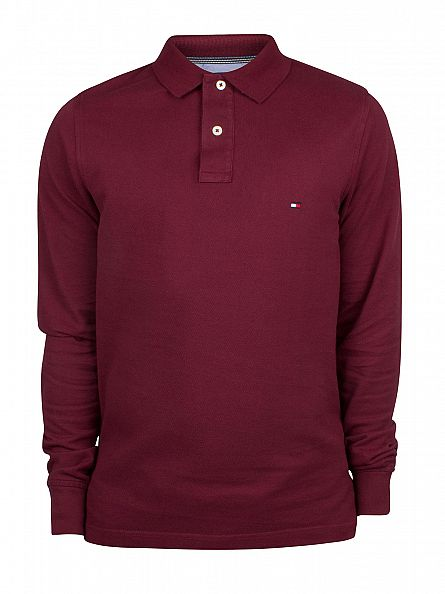 Tommy Hilfiger Tawny Port Longsleeved Slim Fit Logo Polo Shirt