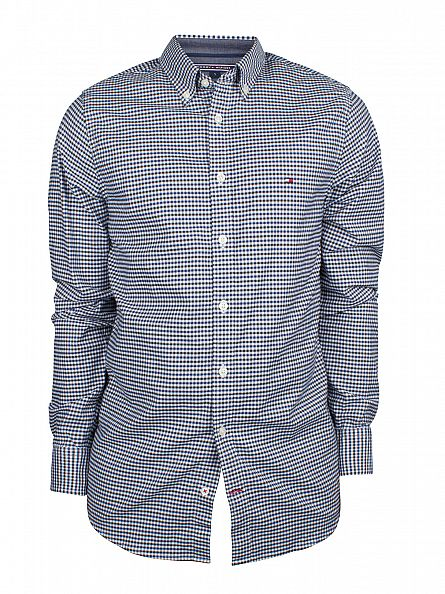 Tommy Hilfiger Dutch Navy/Rosin Slim Fit Colton Checked Logo Shirt