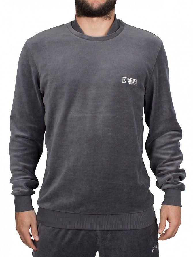 Emporio Armani Grey Velour Logo Sweatshirt