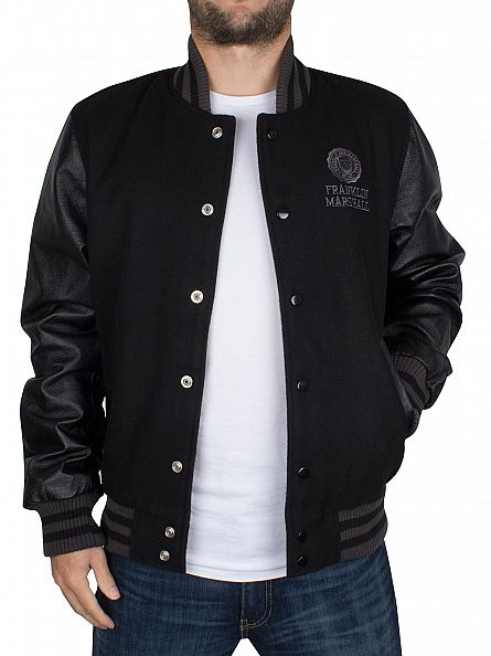 Franklin & Marshall Black Raglan Logo Varsity Jacket