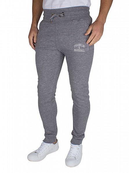 Franklin & Marshall Black Melange Skinny Fit Logo Marled Joggers