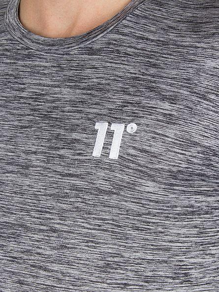 11 Degrees Grey/White Longsleeved Composite Pattern Logo T-Shirt