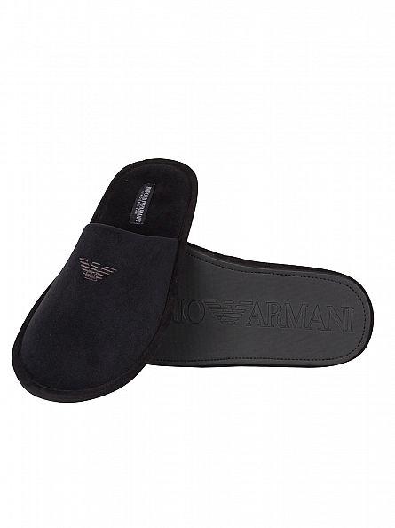 Emporio Armani Black Logo Slippers