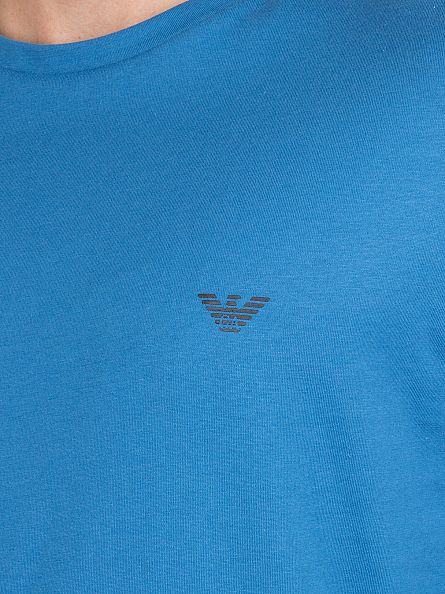 Emporio Armani Turquoise Longsleeved Chest Logo T-Shirt