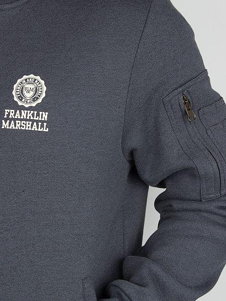 Franklin & Marshall Black Melange Left Chest Logo Zip Bomber Track Top