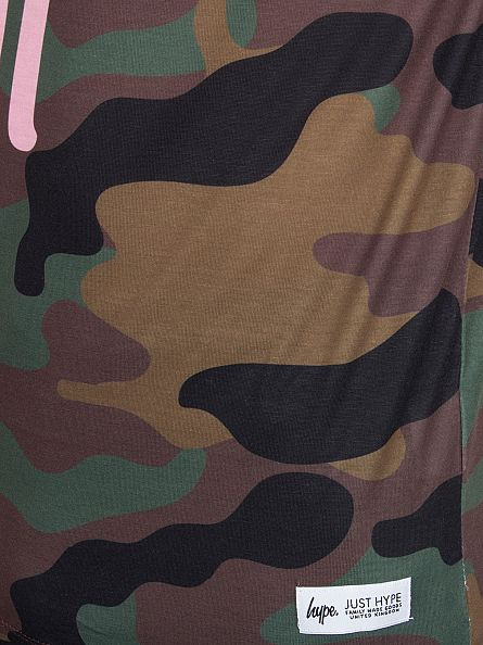 Hype Green/Pink All Over Camo Logo Script T-Shirt