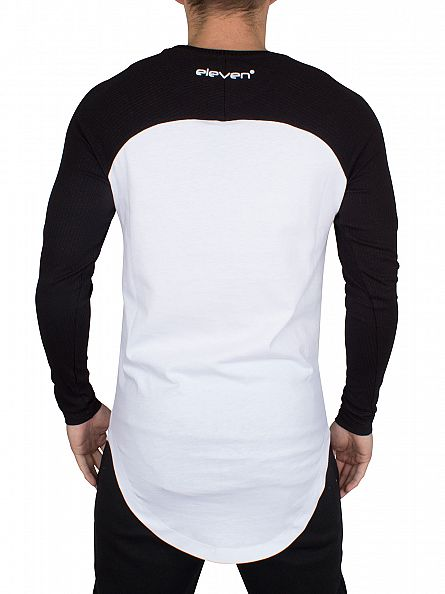 11 Degrees Black Longsleeved Curved Ribbed Raglan T-Shirt