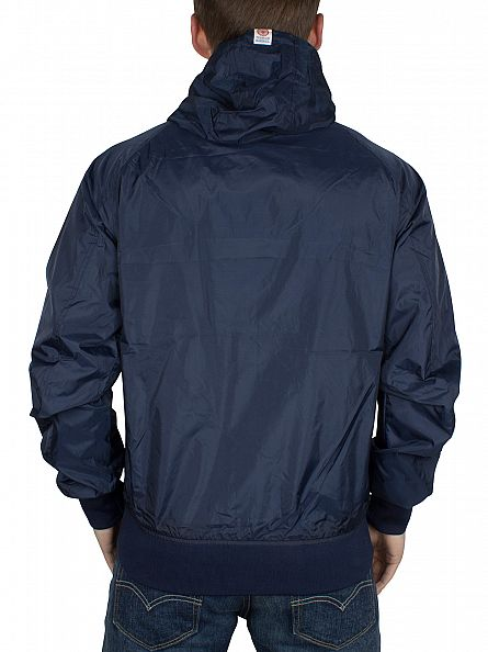Franklin & Marshall Navy Left Chest Logo Hooded Jacket