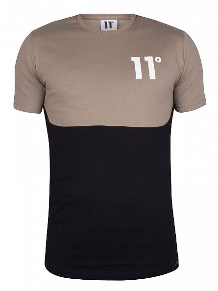 11 Degrees Mastik/Black Curved Cut And Sew Two Tone T-Shirt