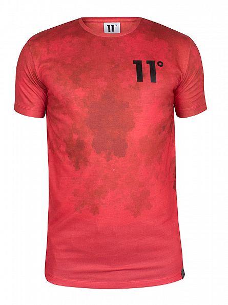 11 Degrees Red Sub Cloud Fade Logo T-Shirt
