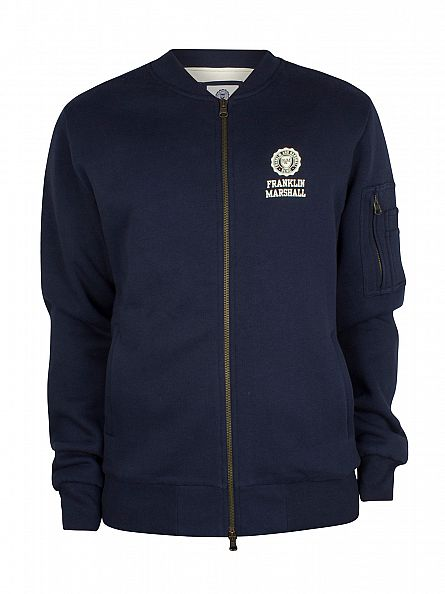 Franklin & Marshall Navy Left Chest Logo Zip Bomber Track Top
